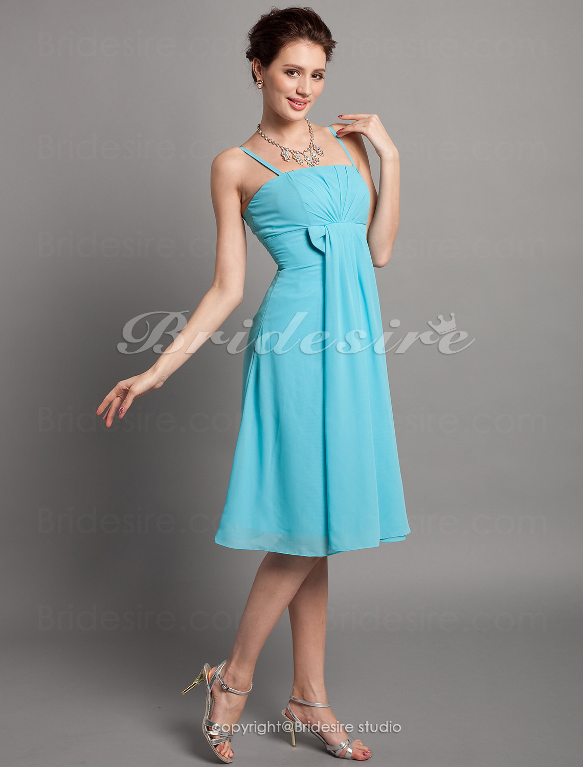Sheath/ Column Chiffon Spaghetti Straps Knee-length Empire Bridesmaid Dress
