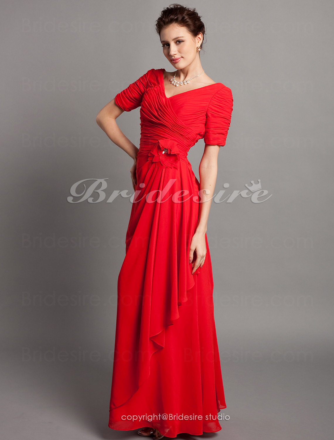 Sheath/ Column Chiffon Floor-length One Shoulder Bridesmaid Dress