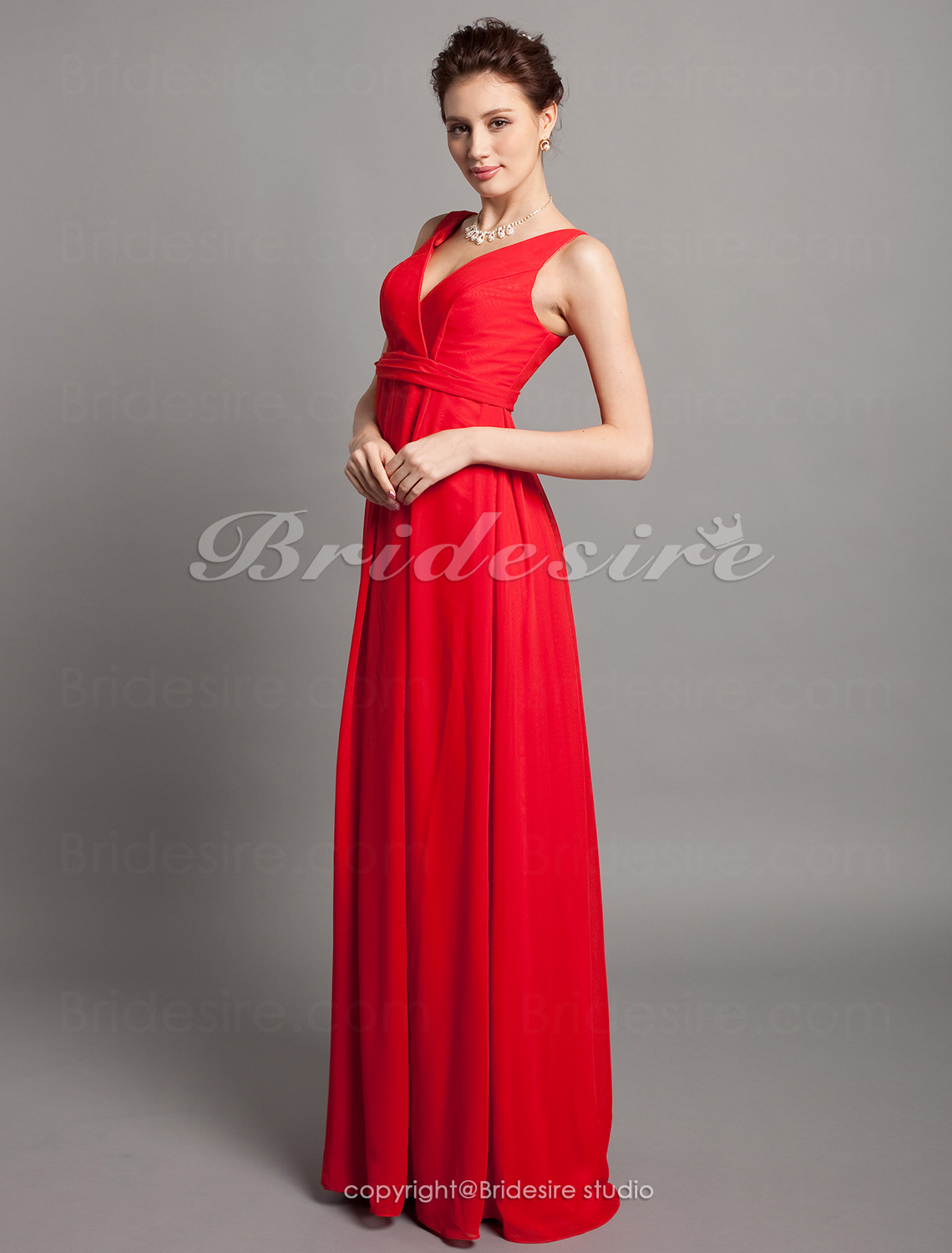 Sheath/ Column Floor-length V-neck Maternity Chiffon Over Elastic satin Bridesmaid/ Wedding Party Dress