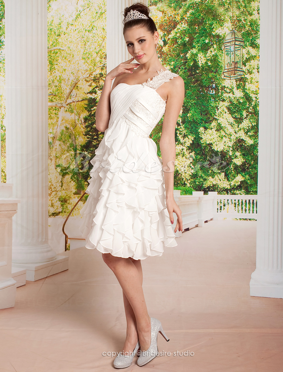 A-line Chiffon Short/ Mini One Shoulder Wedding Dress