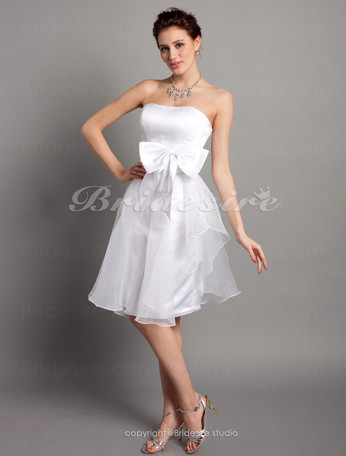 A-line Satin And Organza Knee-length Sweetheart Bridesmaid Dress