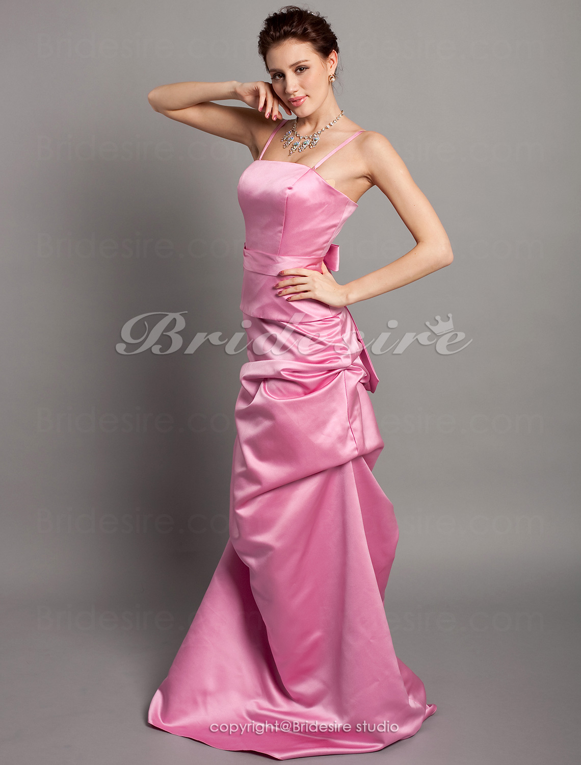 A-line Satin Floor-length Bridesmaid Dress With Pick Up Skirt