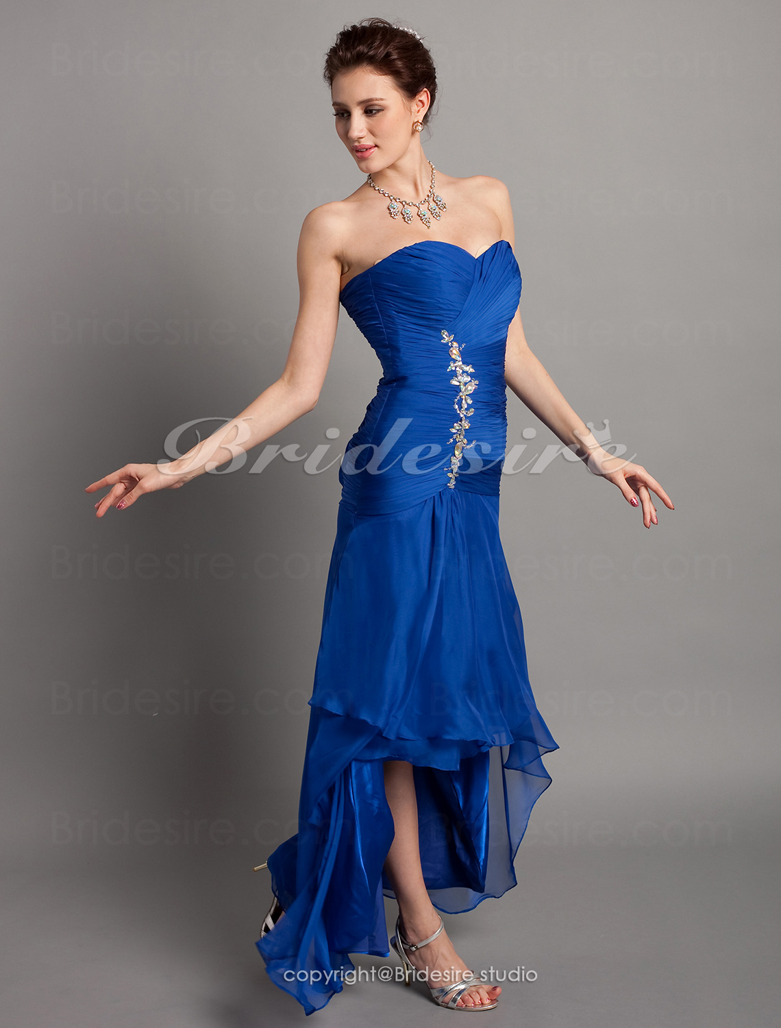 Trumpet/Mermaid Chiffon Asymmetrical Sweetheart Evening Dress