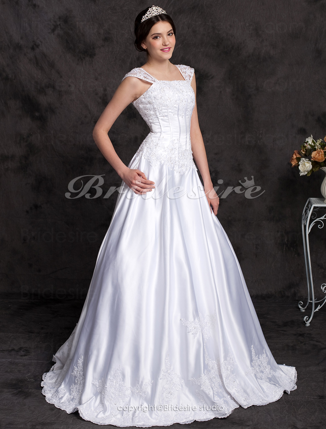 A-line Princess Satin Floor-length Wedding Dress With Beaded Appliques