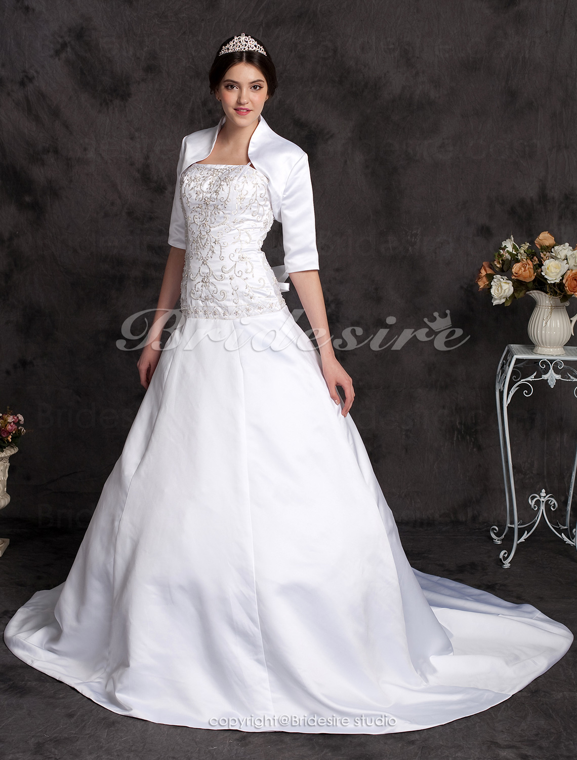 A-line Chapel Train Satin Spaghetti Straps Wedding Dress with A Wrap