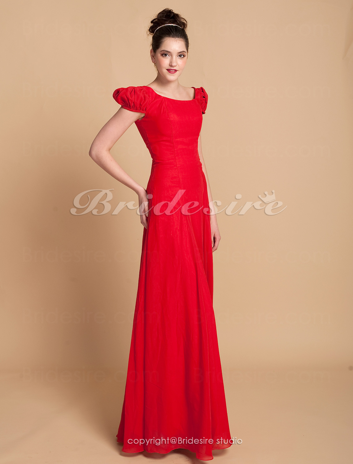 A-line Floor-length Juliet Chiffon Square Bridesmaid/ Wedding Party Dress