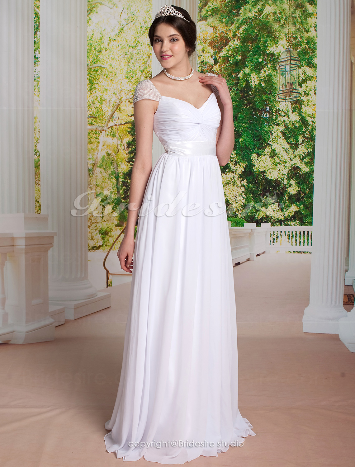 A-line Chiffon Floor-length Evening Dress