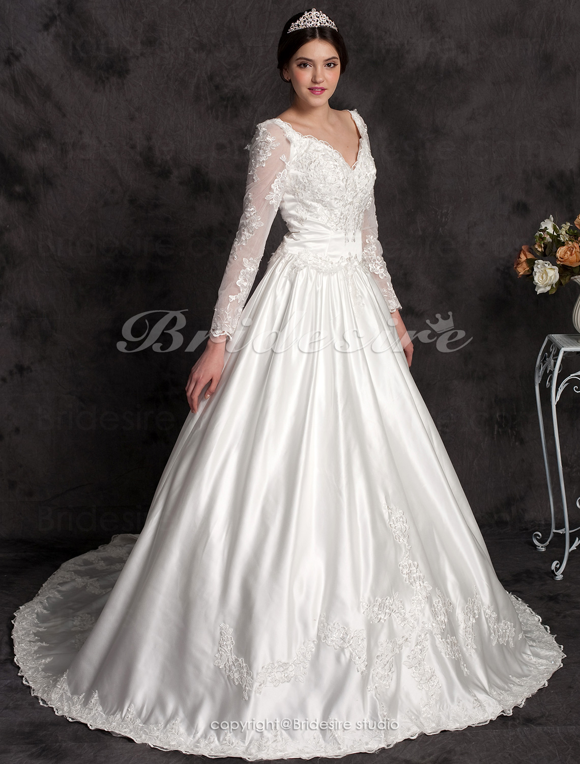 Ball Gown Long Sleeves V-neck Satin Chapel Train Wedding Dress