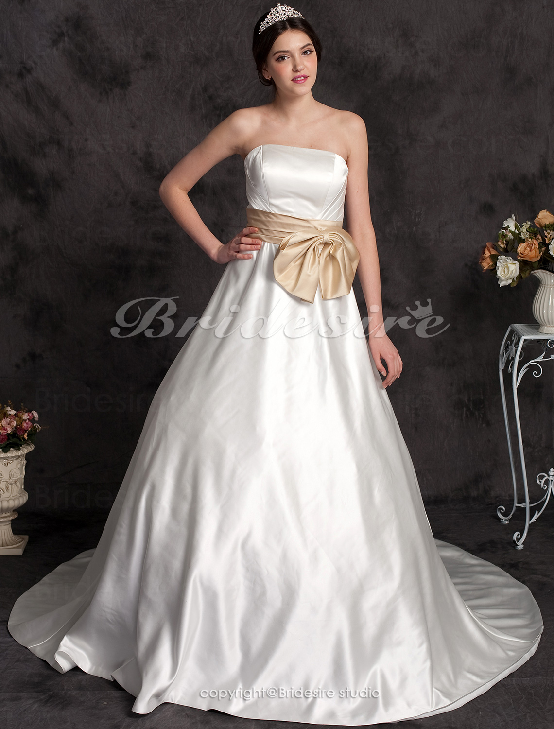 A-line Satin Strapless Chapel Train Wedding Dress with Ribbon
