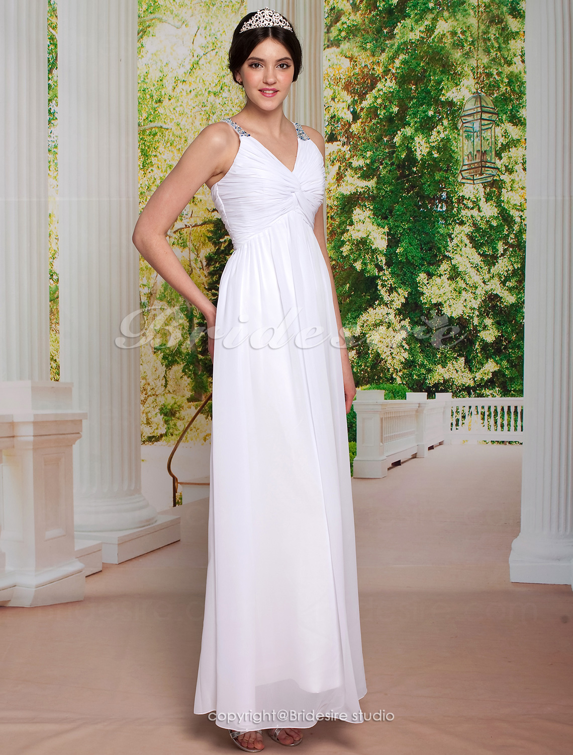 Sheath/ Column Chiffon Floor-length V-neck Wedding Dress