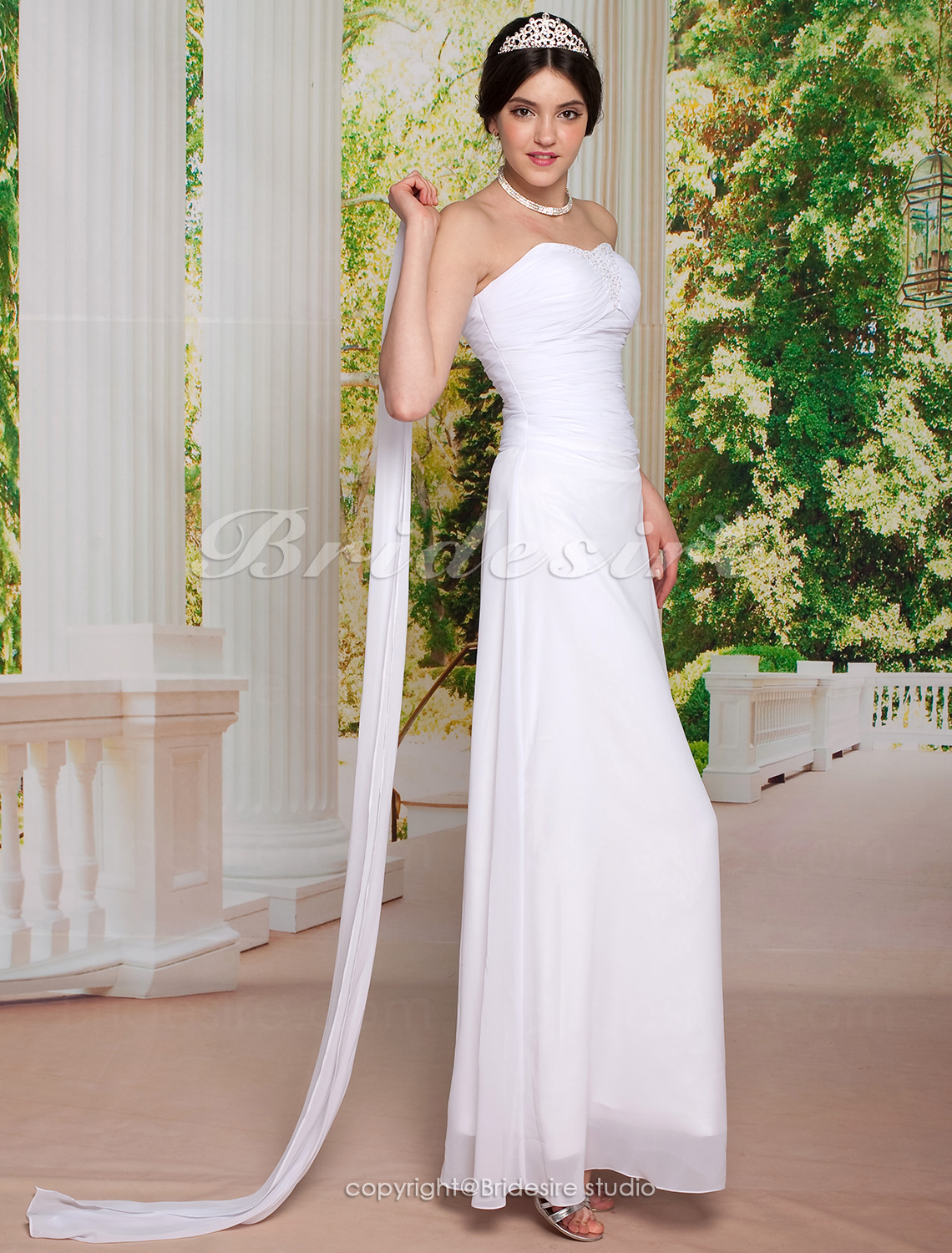 Sheath/ Column Chiffon Ankle-length Sweetheart Wedding Dress With A Wrap