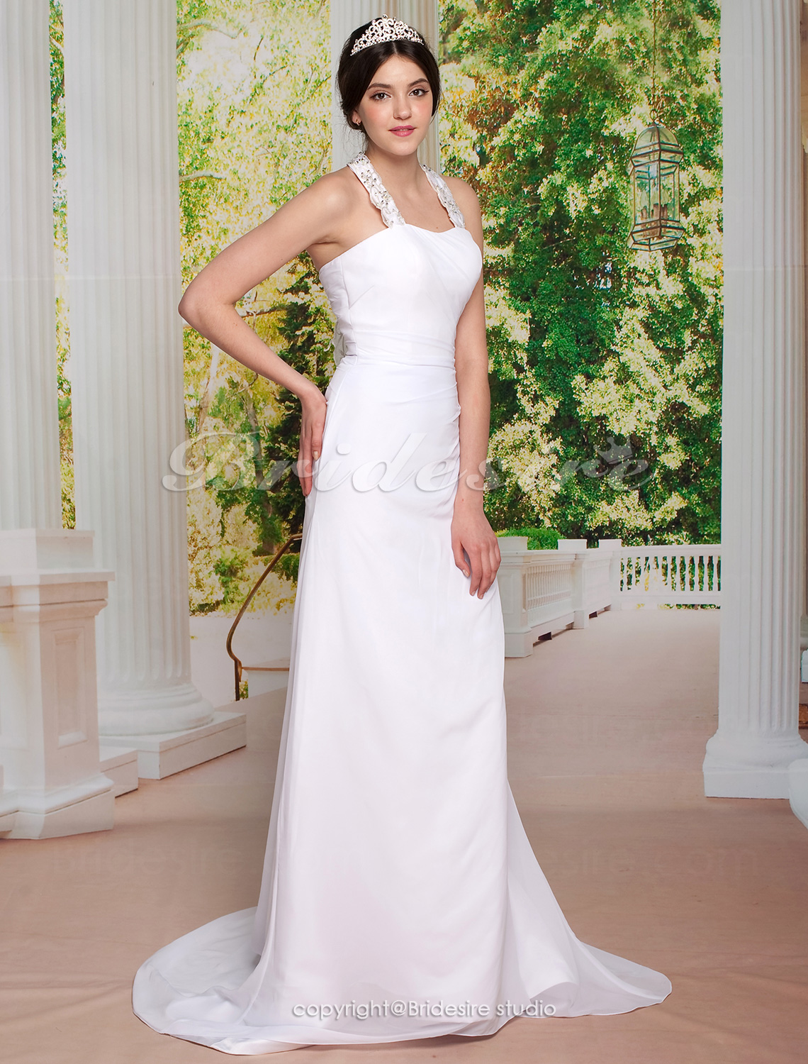 Sheath/ Column Chiffon Court Train Halter Wedding Dress