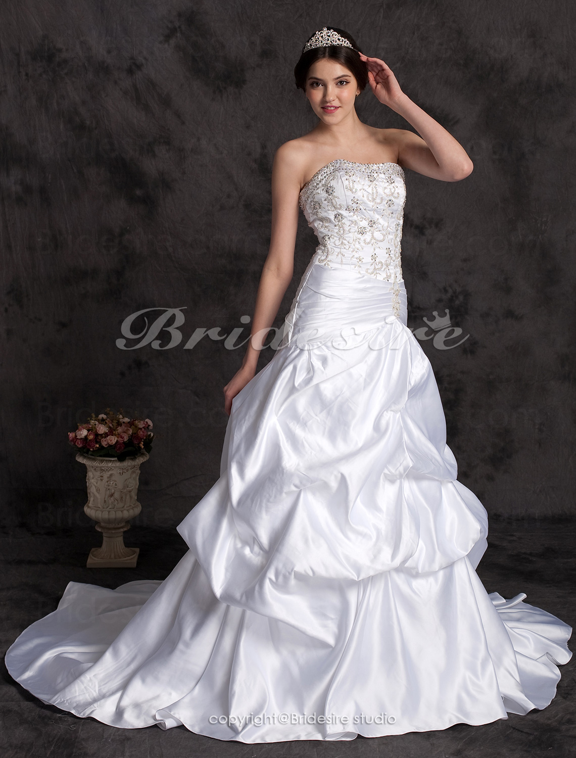 A-line Cathedral Train Embroidery Satin Strapless Wedding Dress