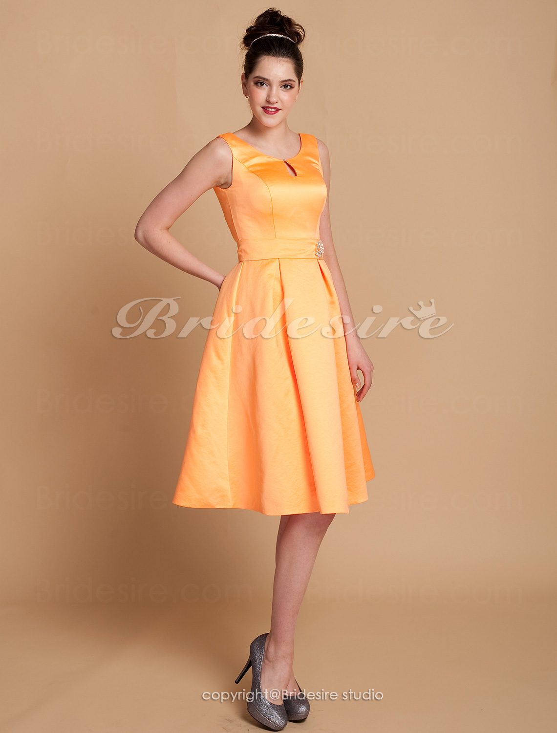 A-line Satin Knee-length Jewel Bridesmaid Dress