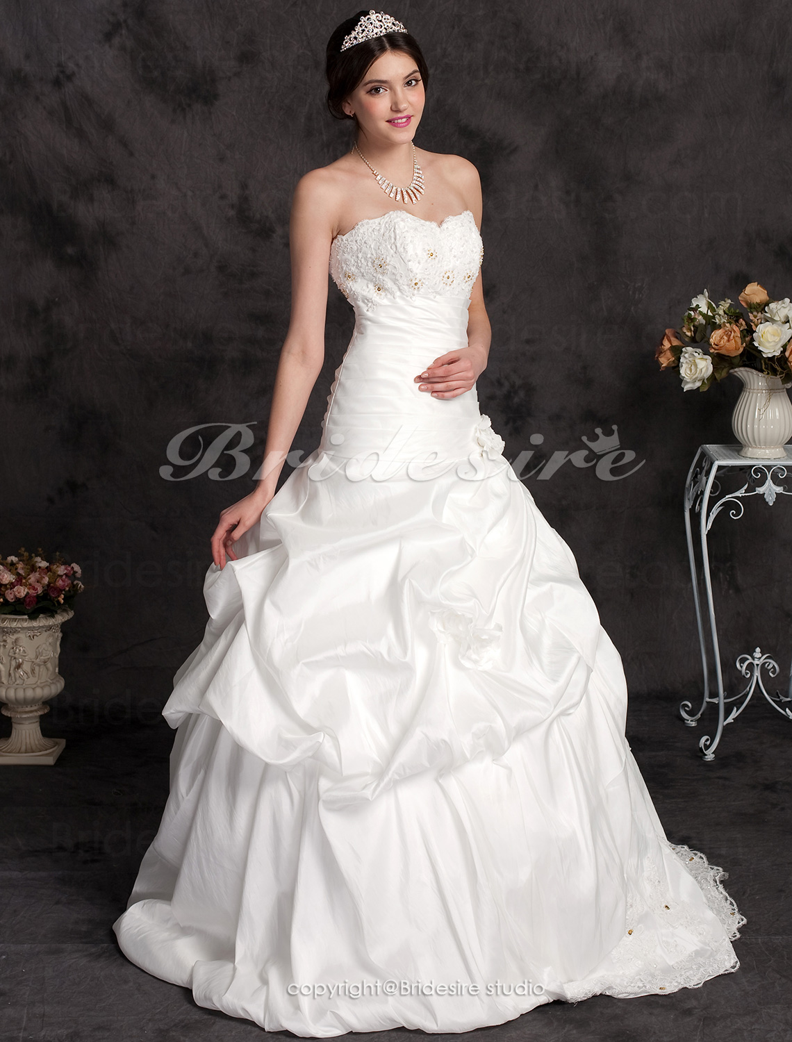 Ball Gown Taffeta Court Train Sweetheart Wedding Dress