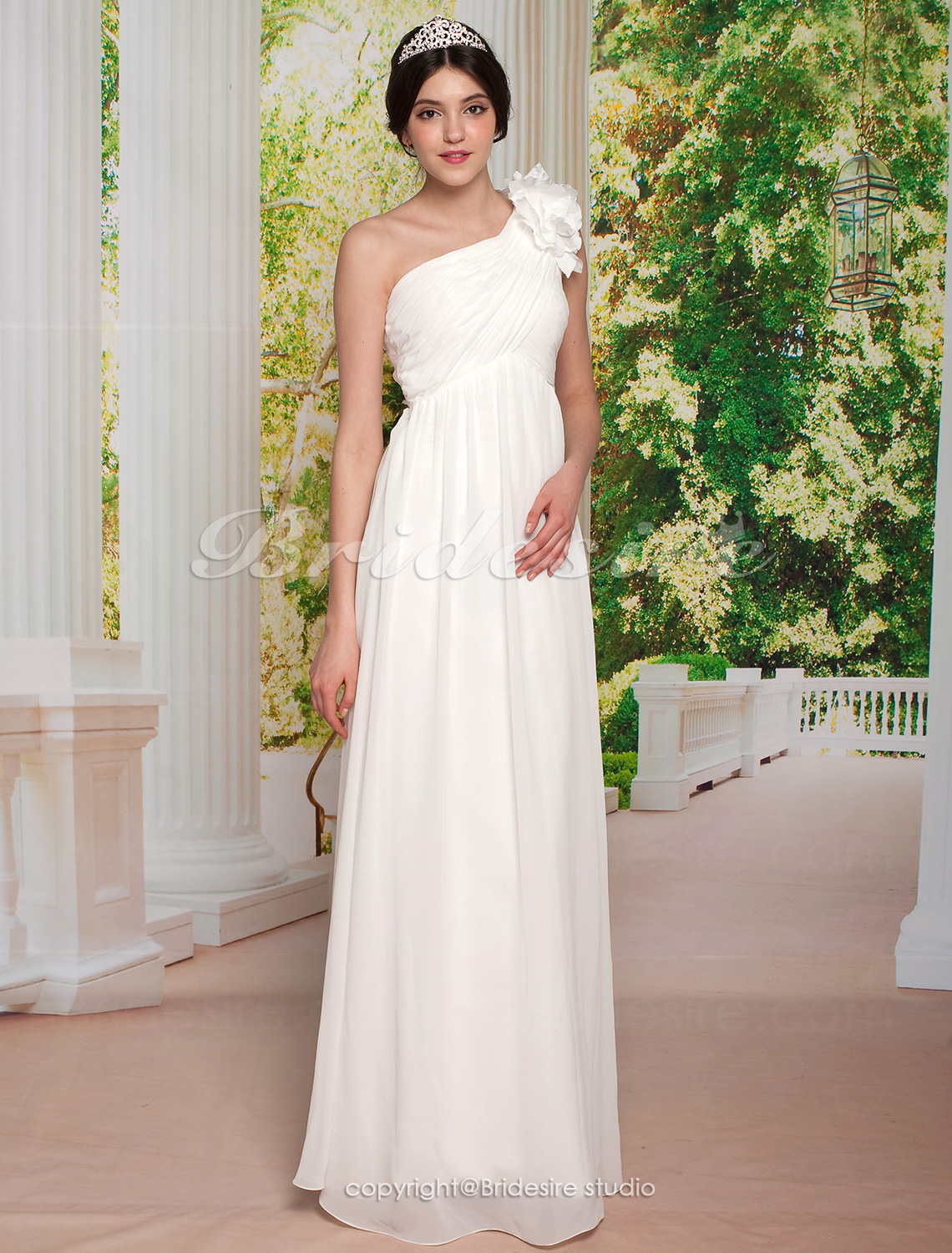 Sheath/ Column Chiffon Floor-length One Shoulder Wedding Dress
