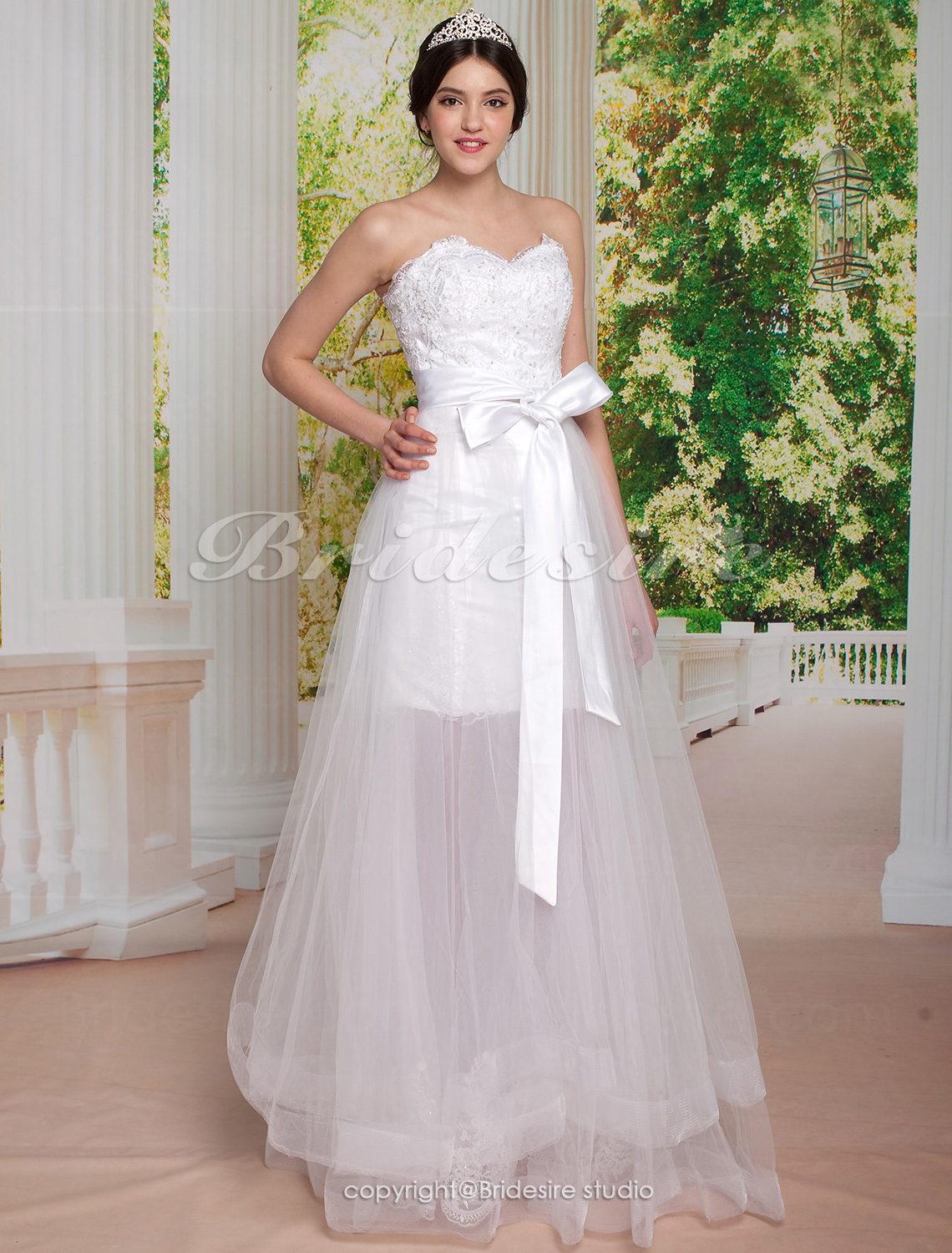A-line Princess Sweetheart Two-In-One Tulle Floor-length Wedding Dress