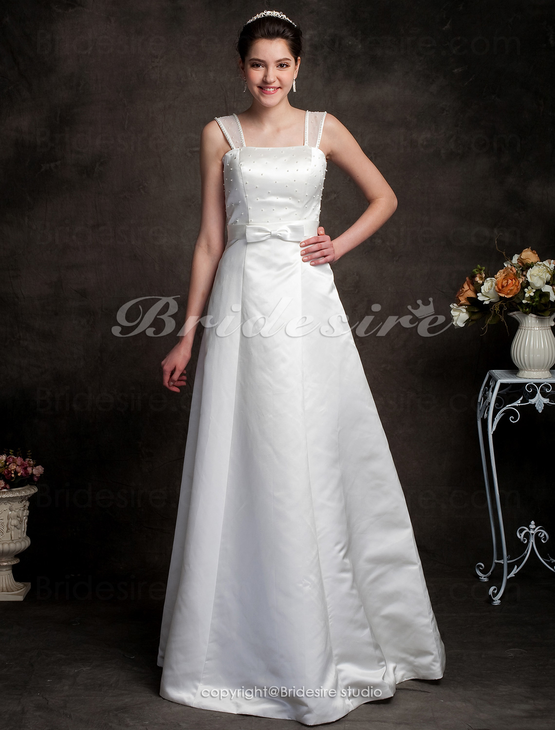 A-line Princess Satin Floor-length Wedding Dress with Bow