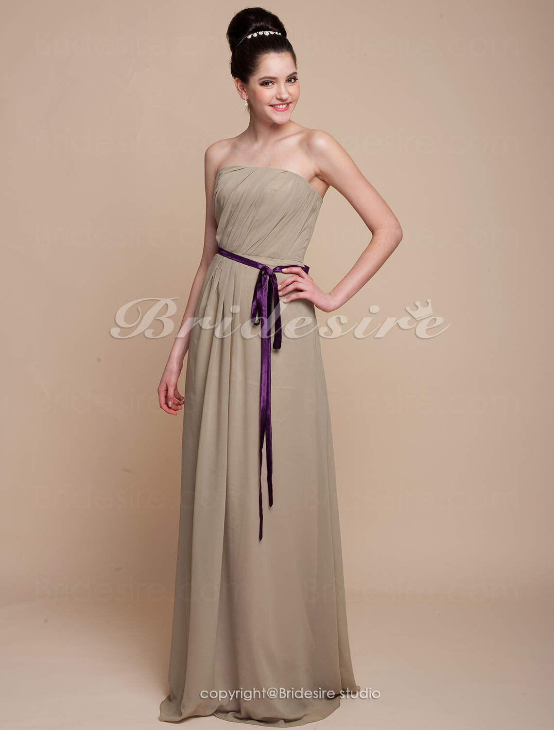 Sheath/ Column Floor-length Chiffon Strapless Bridesmaid Dress