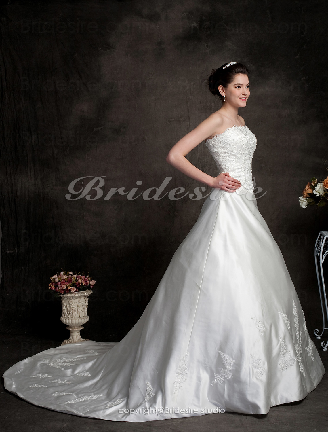 A-line Court Train Satin Scalloped-Edge Neckline Wedding Dress With A Wrap