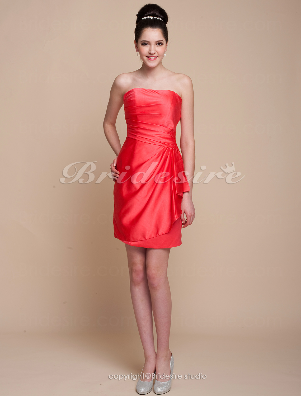 Sheath/ Column Knee-length Satin Side-Draped Strapless Bridesmaid Dress