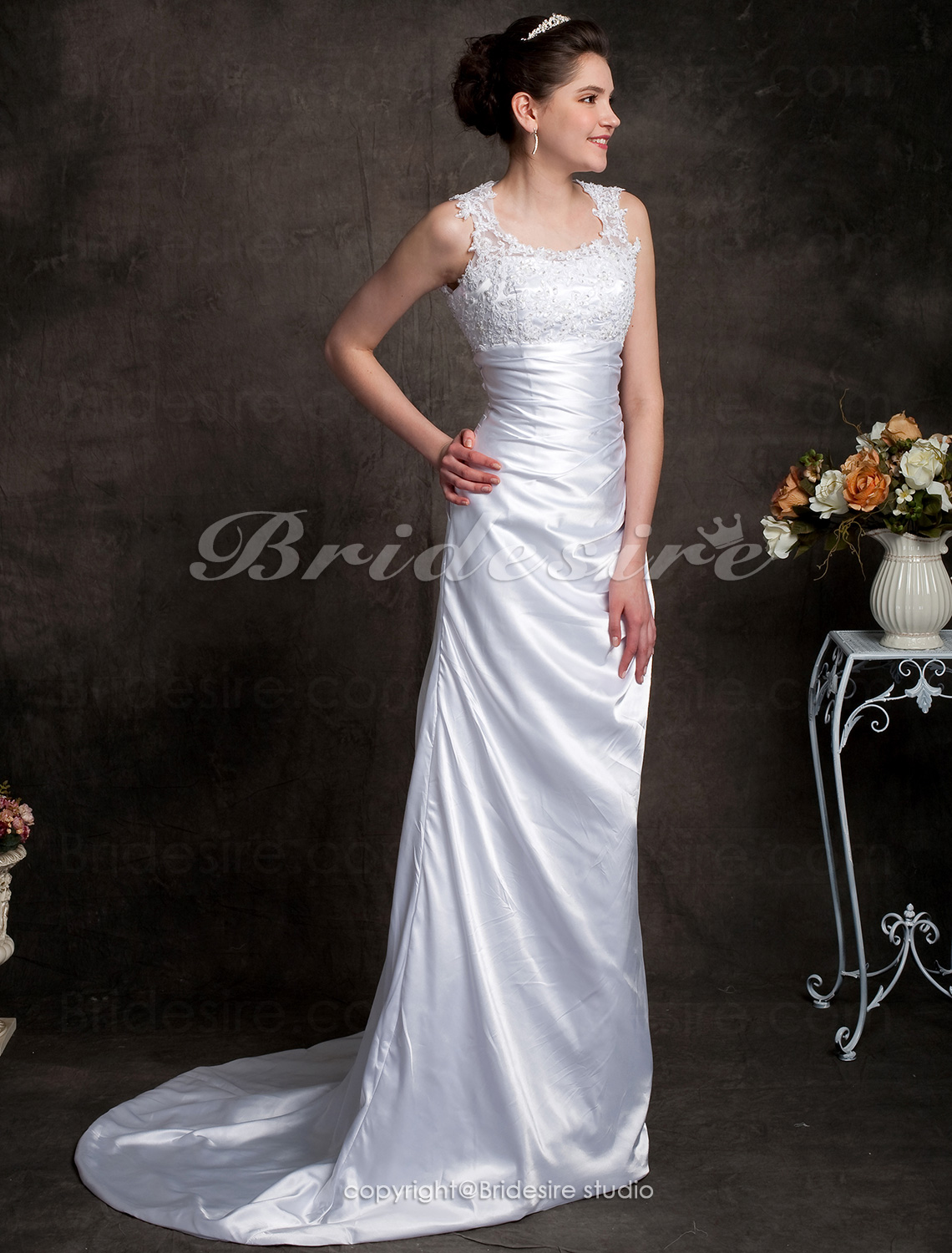 Sheath/ Column Elastic Silk-like Satin Scoop Court Train Wedding Dress