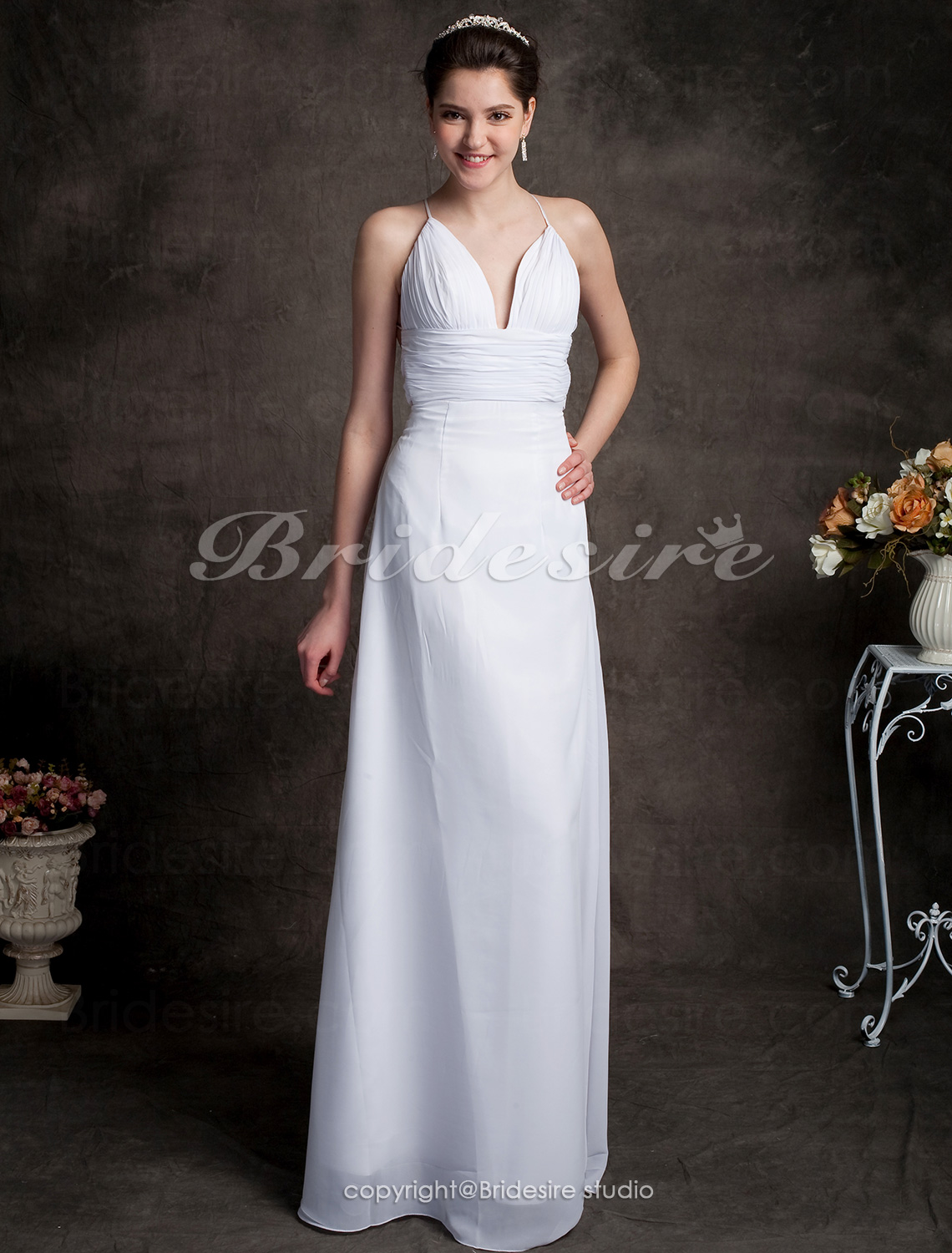 Sheath/ Column Chiffon Spaghetti Straps Sweep/ Brush Train V-neck Wedding Dress