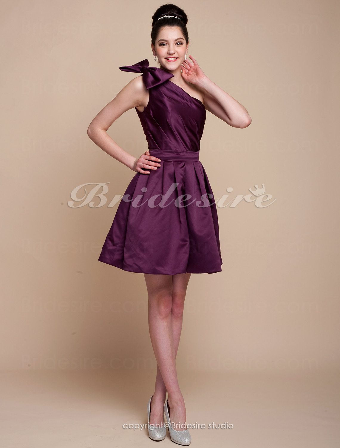 A-line Satin Knee-length One Shoulder Cocktail Dress