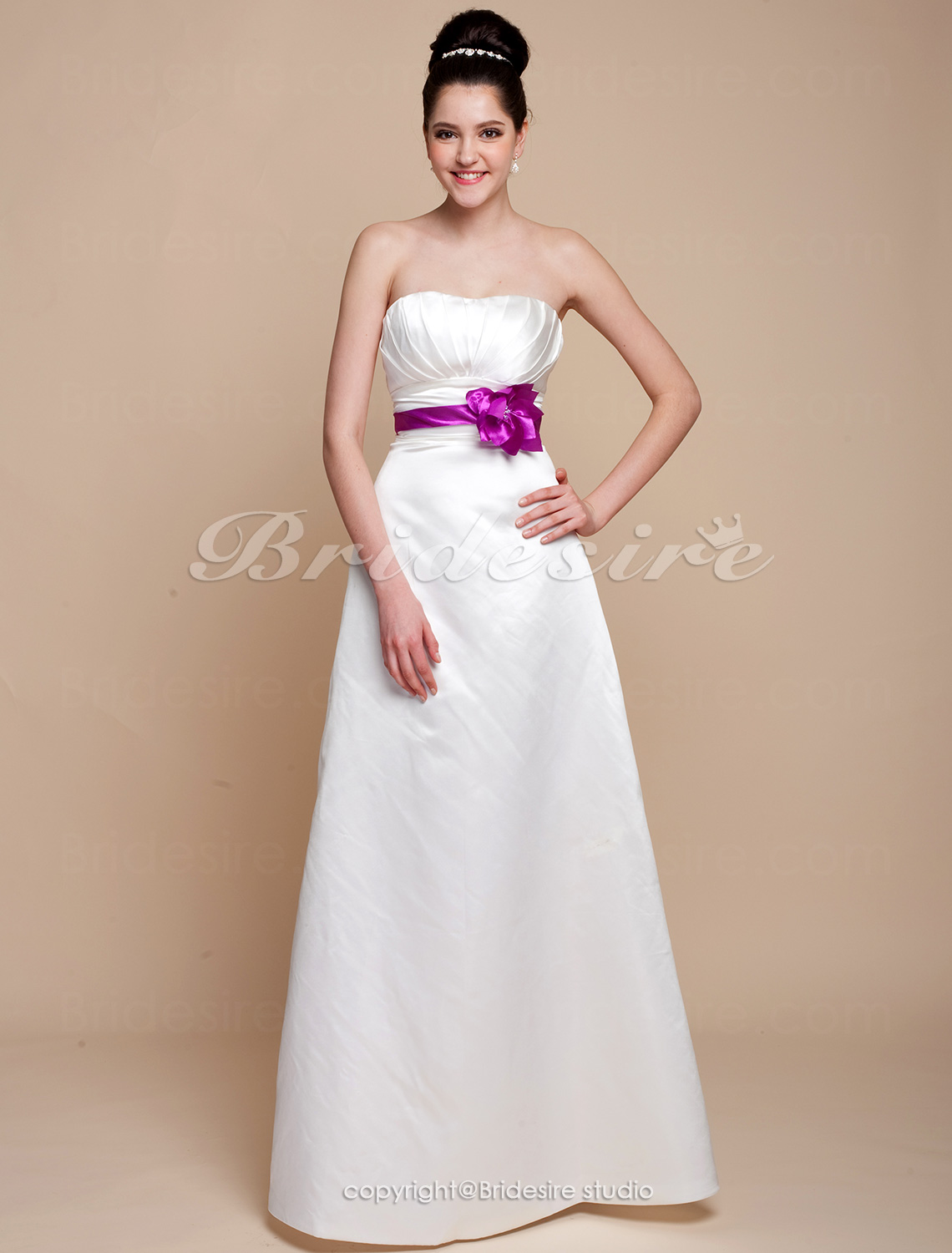 A-line Satin Strapless Floor-length Bridesmaid Dress