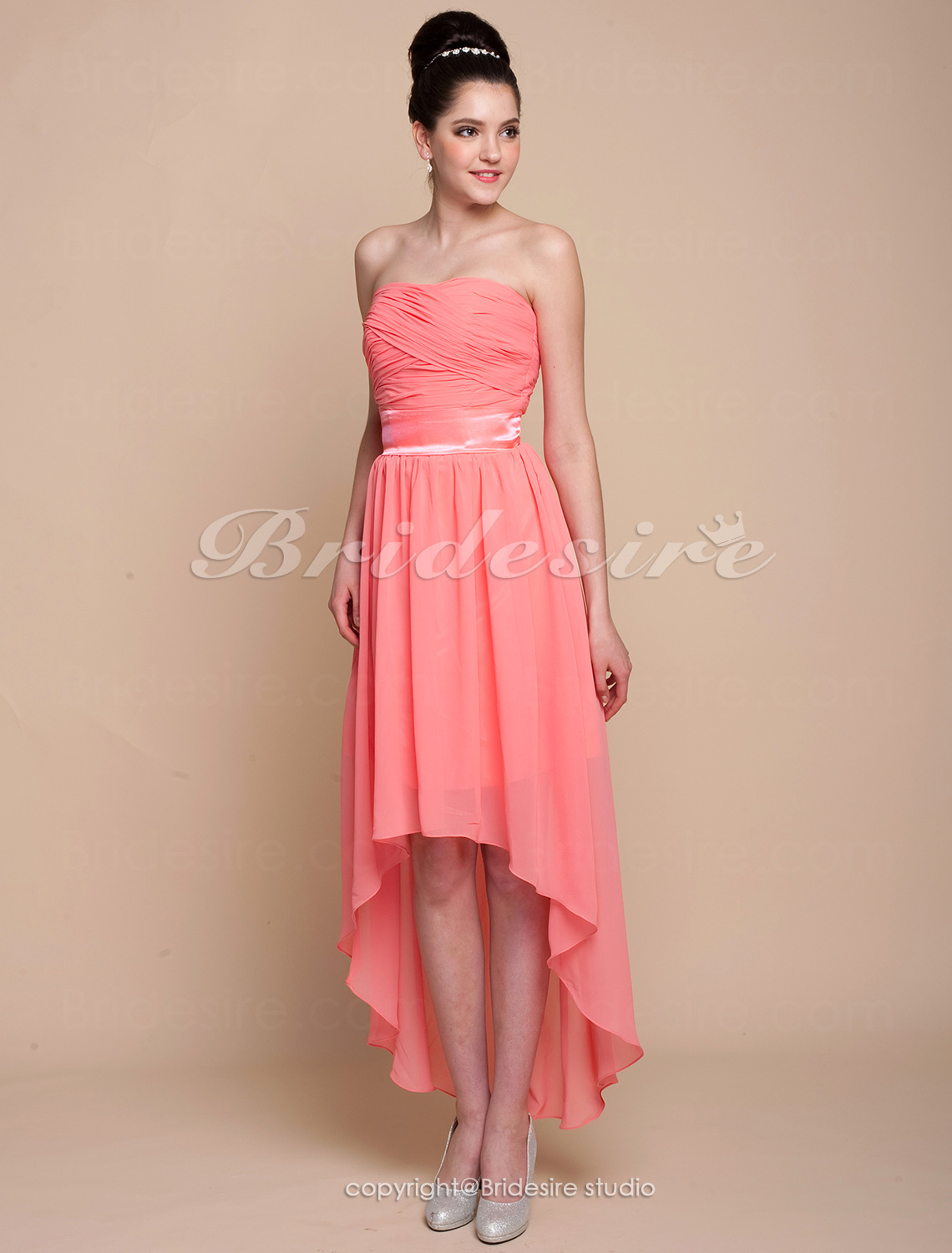 A-line Asymmetrical Chiffon Strapless Bridesmaid Dress