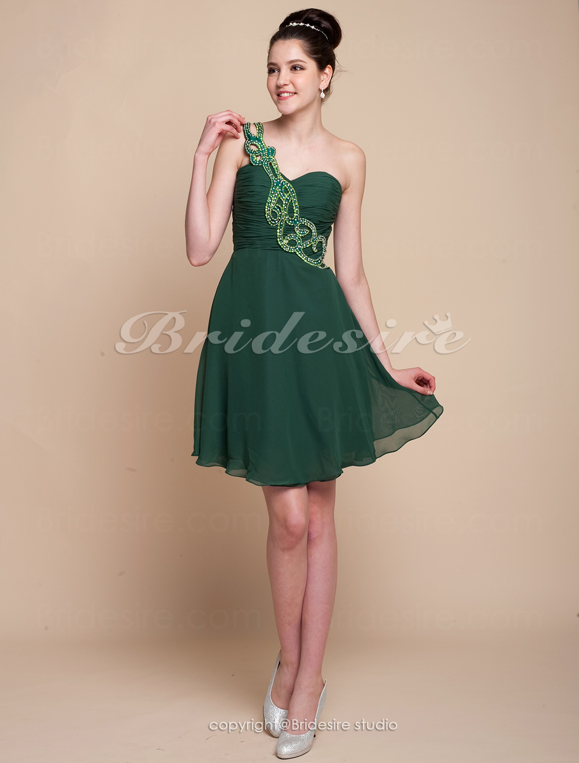 A-line Chiffon Knee-length One Shoulder Evening Dress