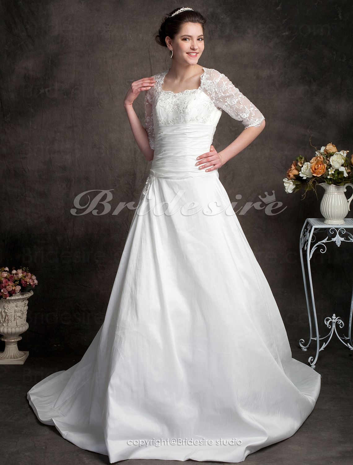 Ball Gown Sweetheart Lace Satin Court Train Wedding Dress