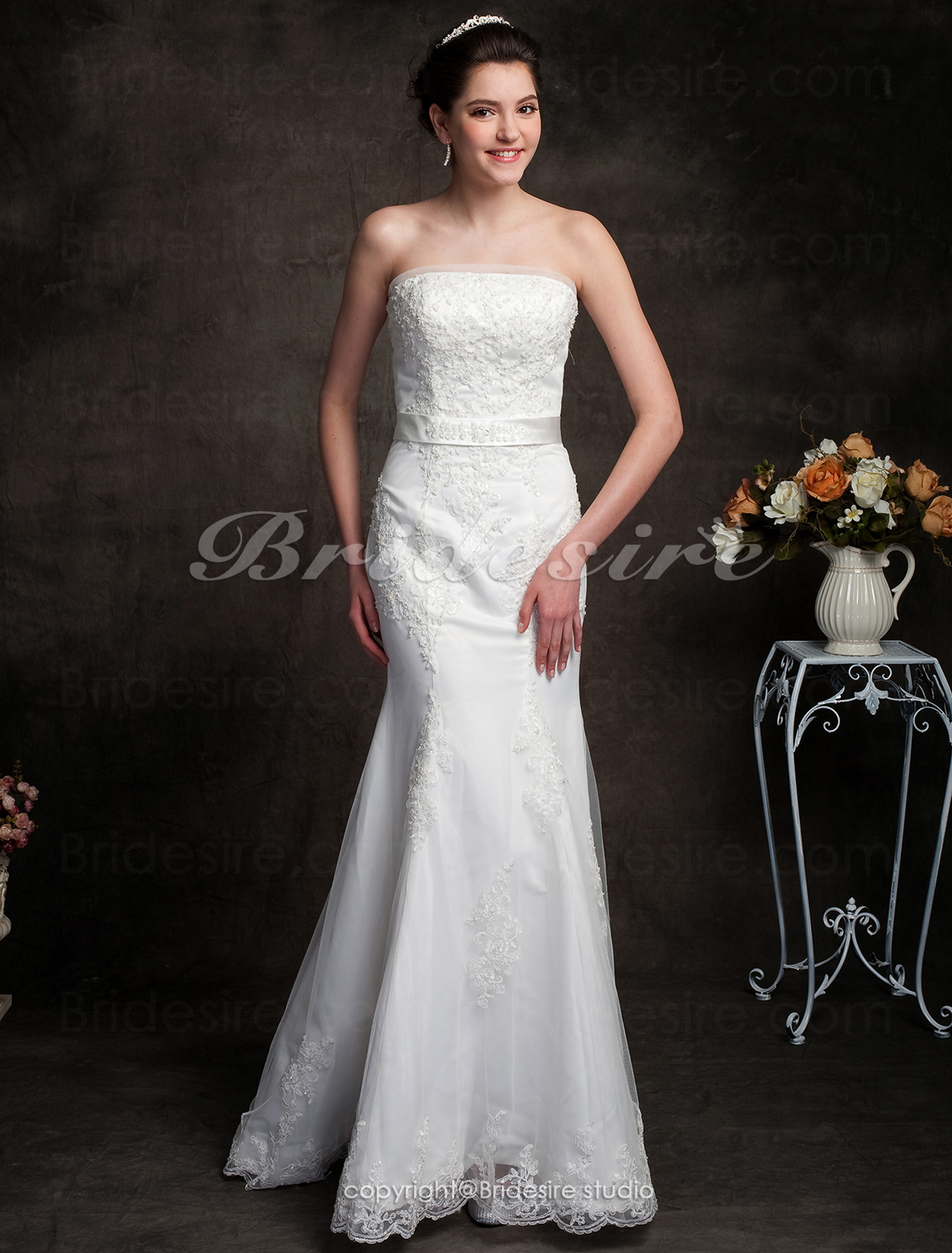Trumpet/Mermaid Satin Tulle Sweep/Brush Train Strapless Wedding Dress