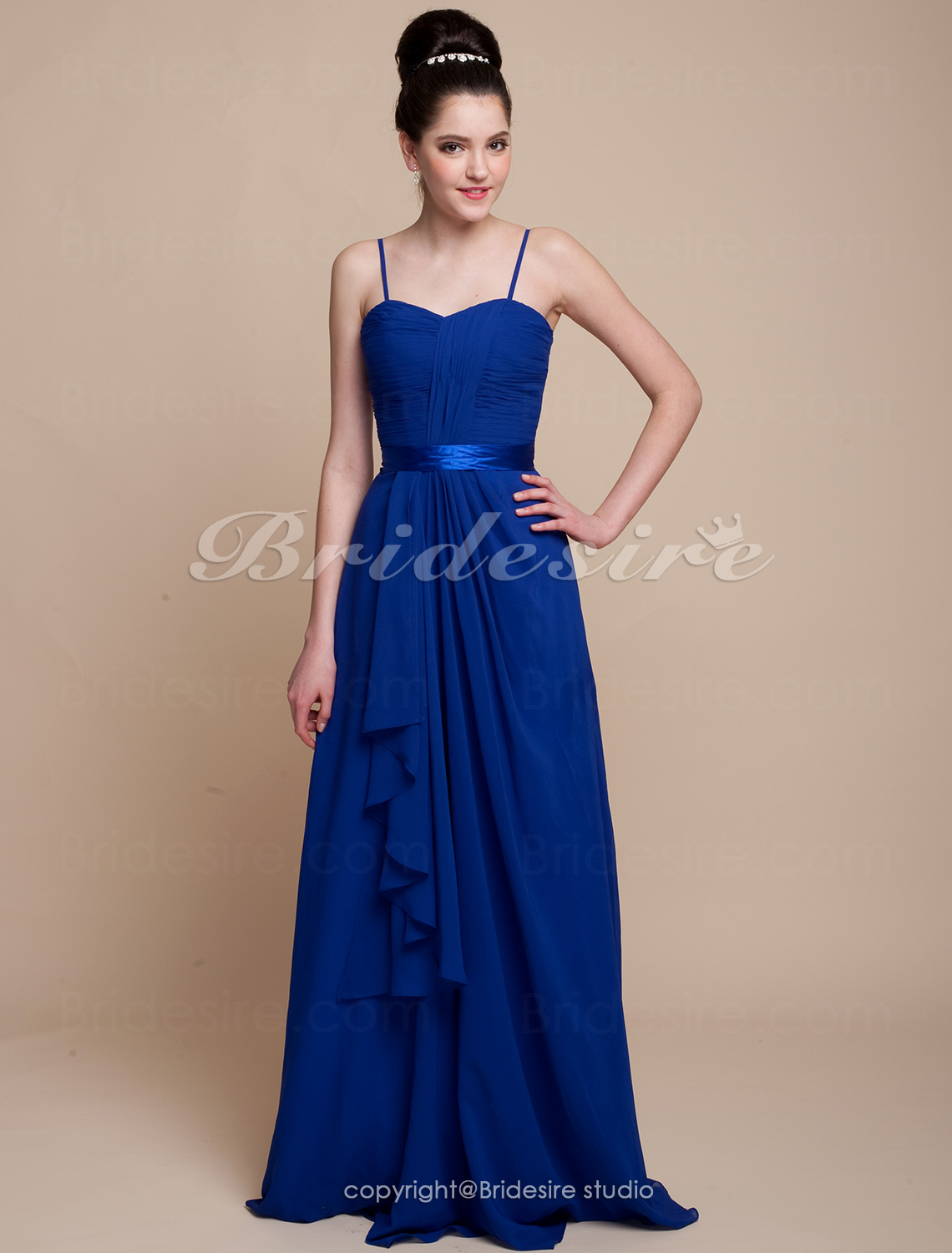 Sheath/Column Chiffon And Satin Sweetheart Floor-length Bridesmaid Dress With Cascading Ruffles