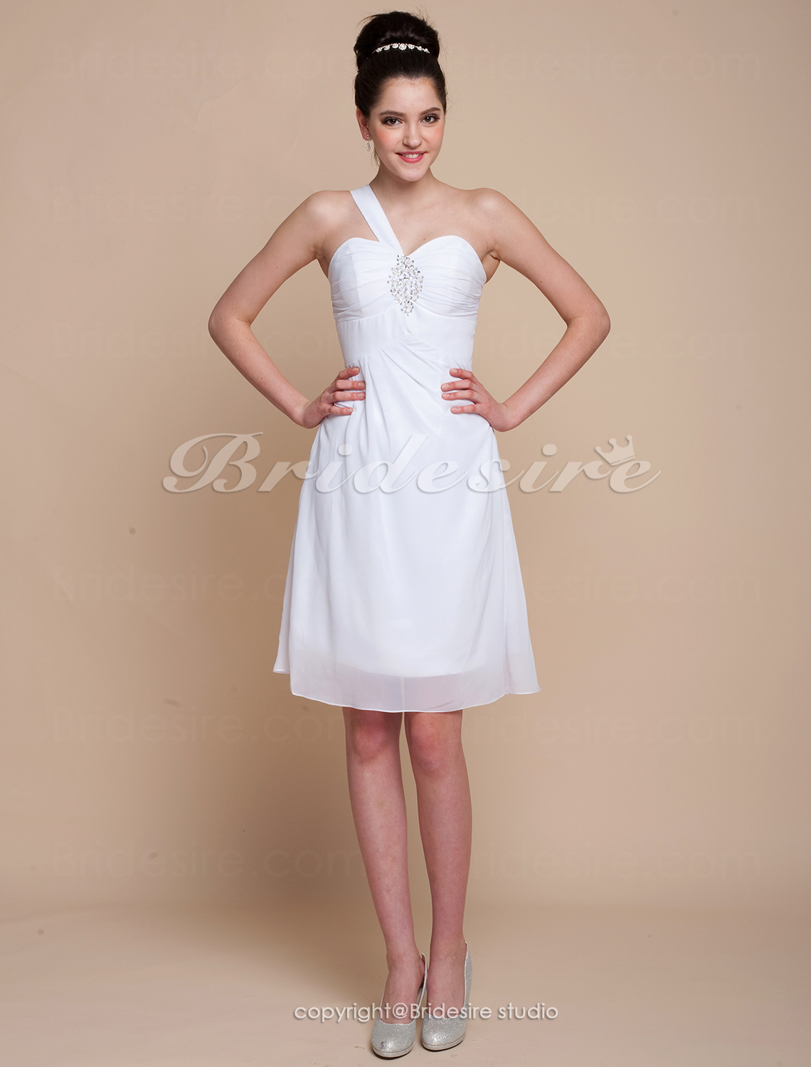 A-line Satin And Chiffon Short/Mini One Shoulder Sweetheart Bridesmaid Dress