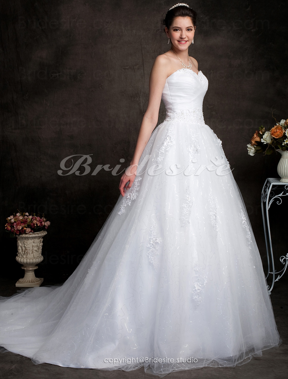 Ball Gown Strapless Chapel Train Sweetheart Wedding Dress