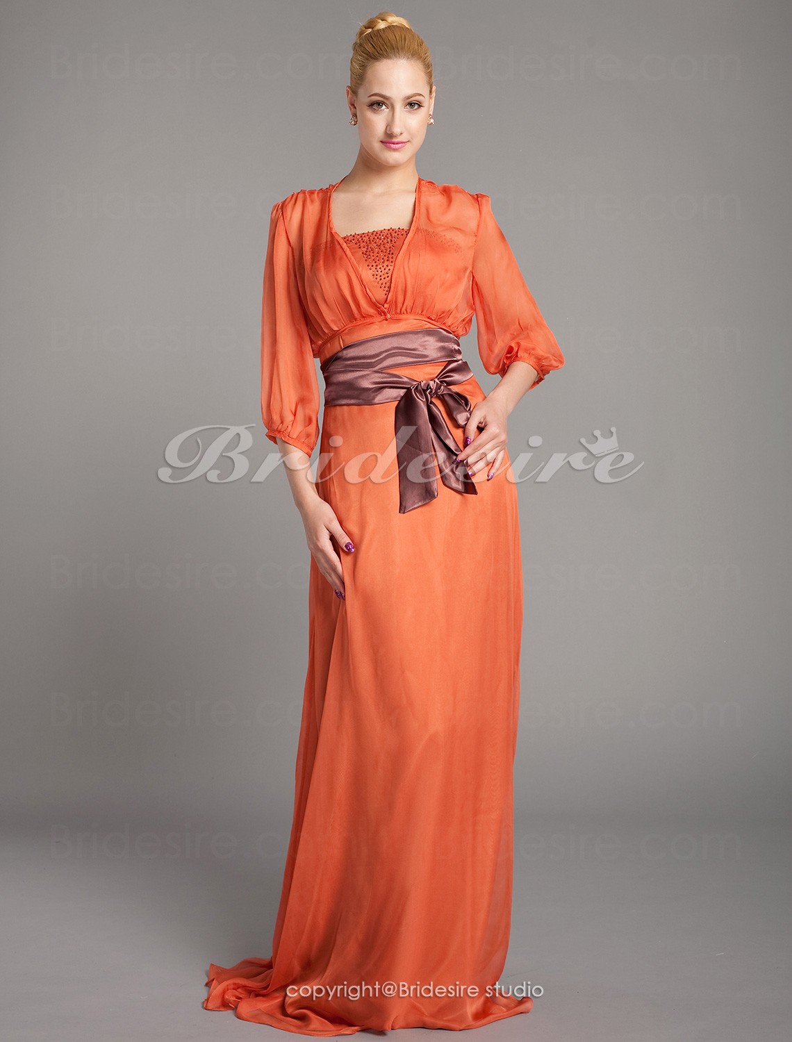 A-line Chiffon Floor-length Strapless Mother of the Bride Dress With A Wrap