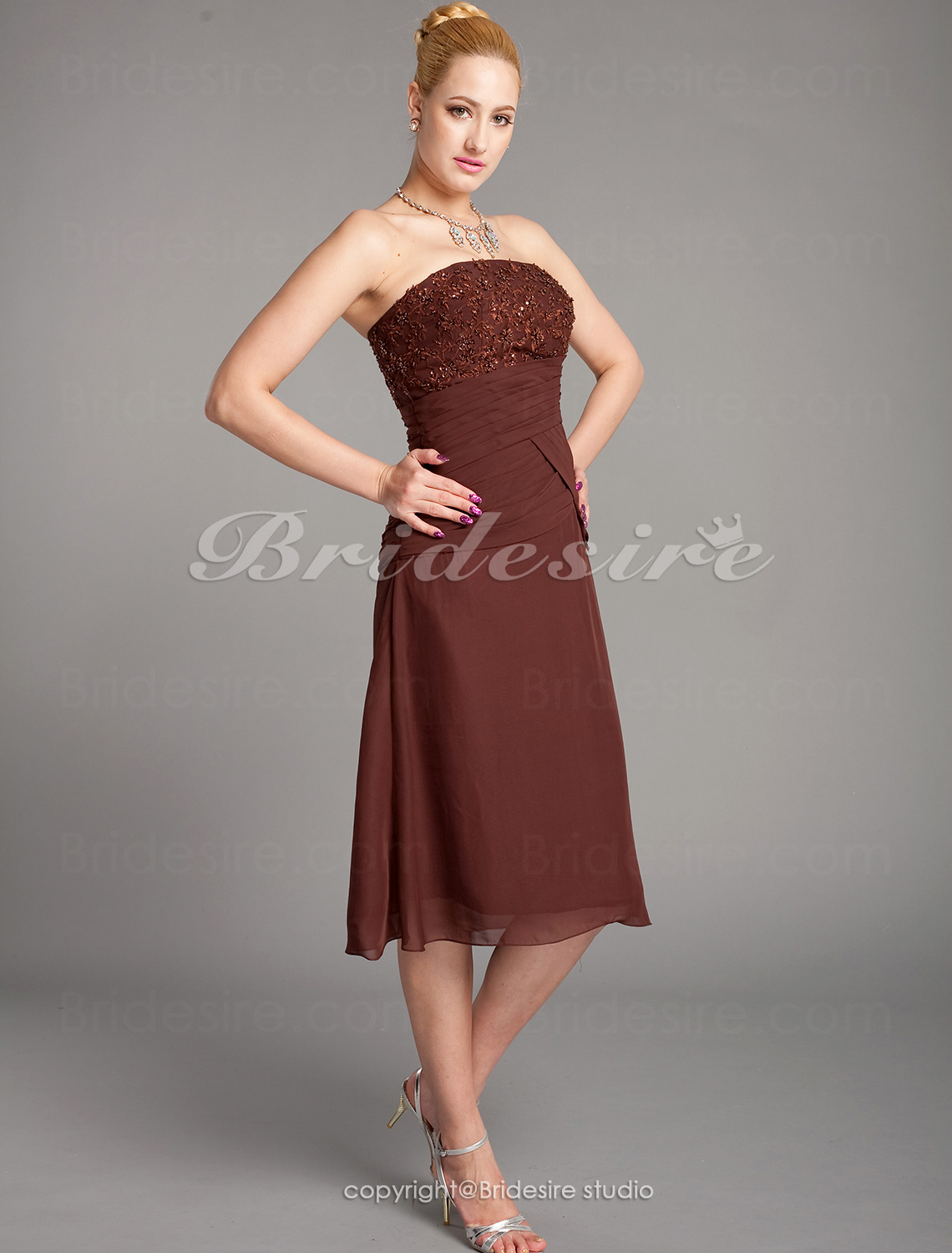 Sheath/Column Chiffon Tea-length Spaghetti Straps Bridesmaid Dress With Embroidery