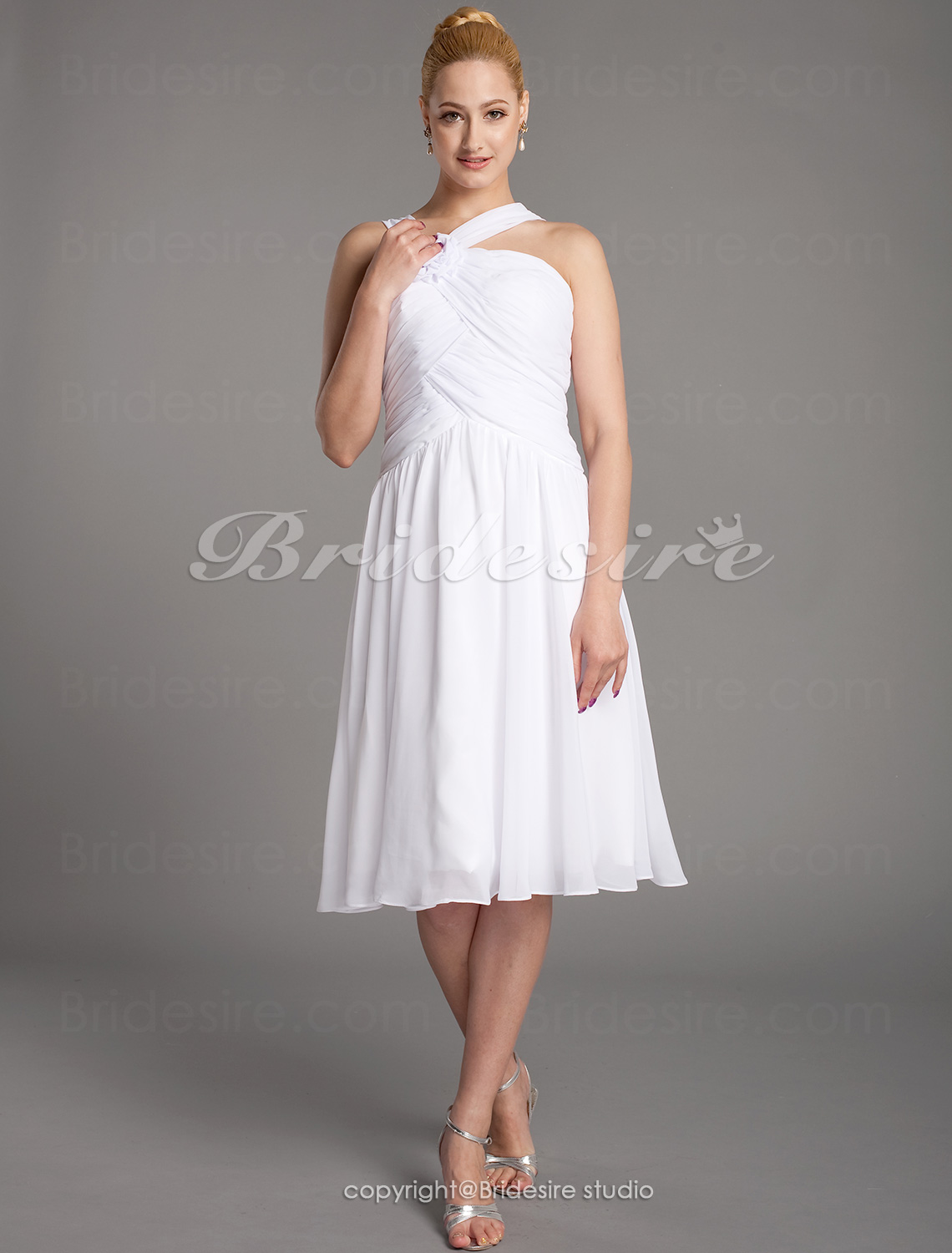 A-line Chiffon Knee-length Straps Mother of the Bride Dress