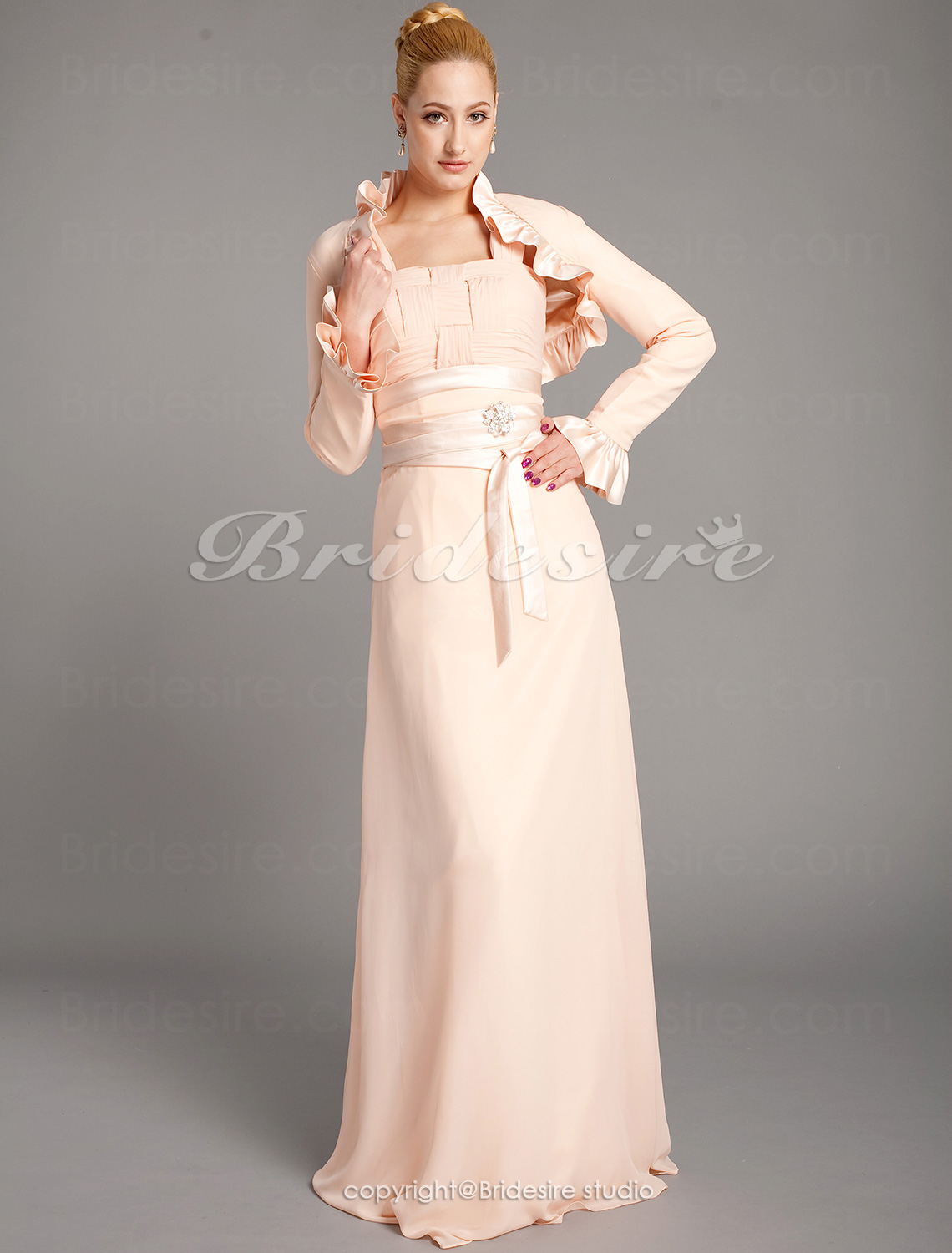 Sheath/Column Chiffon And Satin Floor-length Square Mother Of The Bride Dress With A Wrap