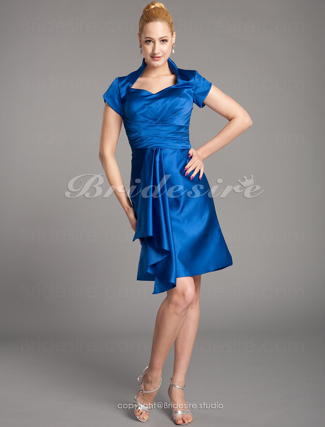 A-line Taffeta Knee-length Queen Anne Mother Of The Bride Dress