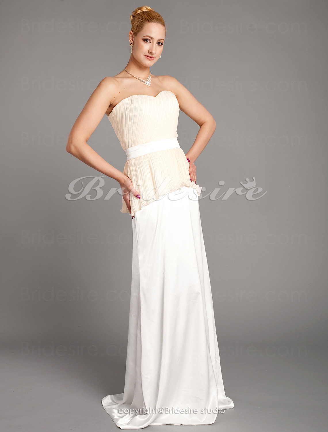 Sheath/ Column Stretch Satin Chiffon Floor-length Sweetheart Bridesmaid Dress
