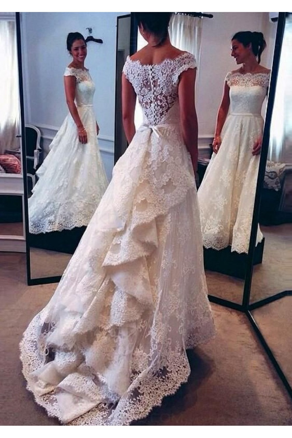 A-line Off-the-shoulder Sleeveless Lace Wedding Dress