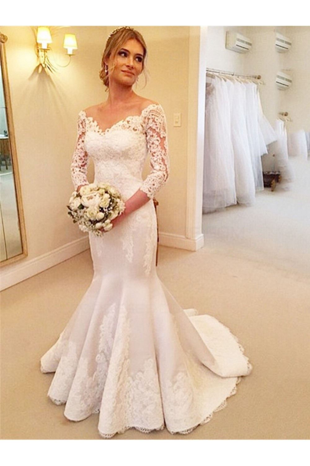 Trumpet/Mermaid Off-the-shoulder 3/4 Length Sleeve Satin Wedding Dress