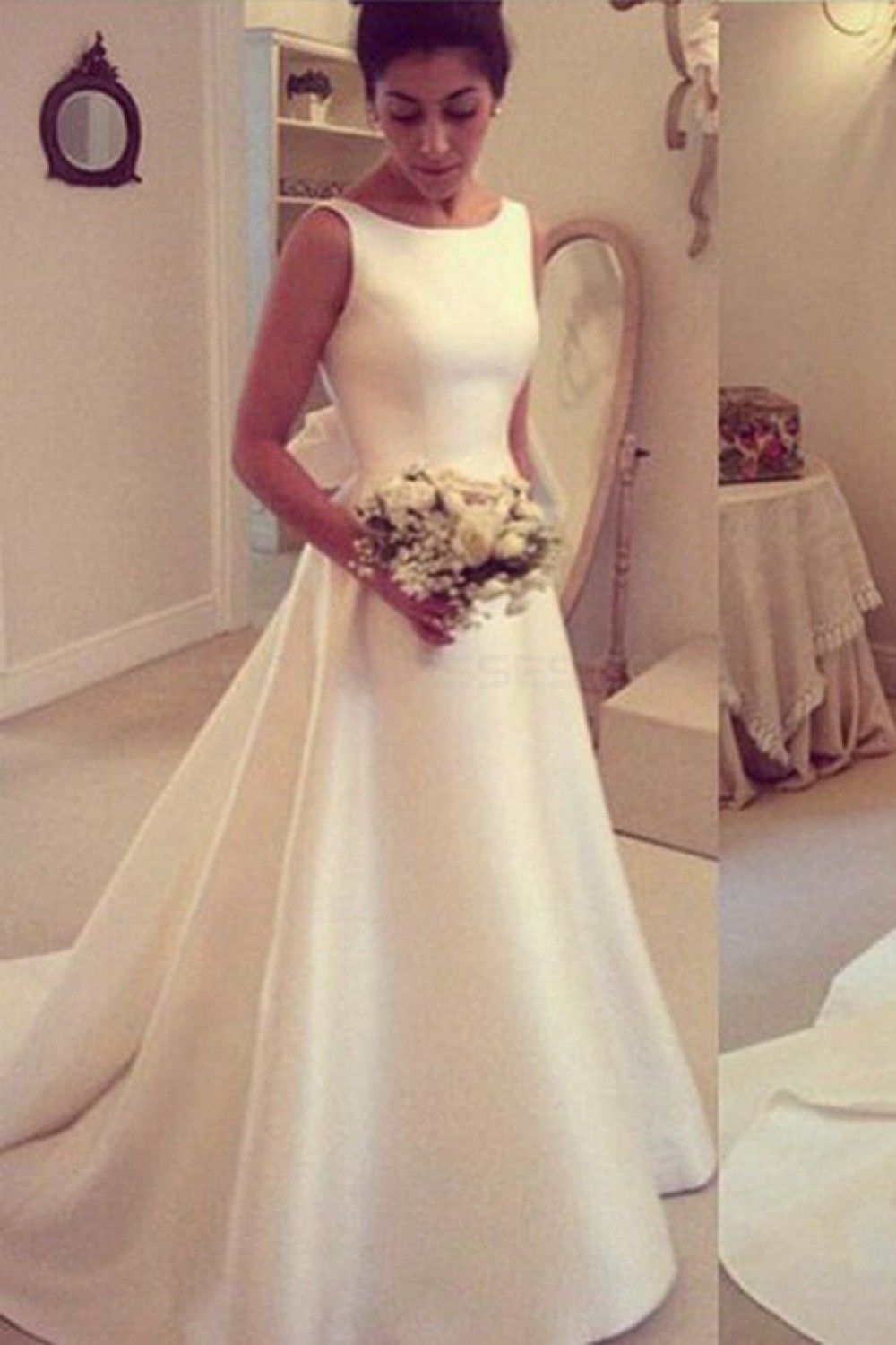 A-line Square Sleeveless Satin Wedding Dress