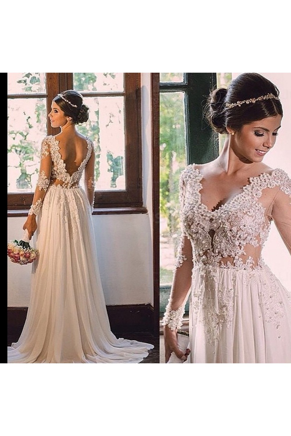 A-line V-neck Long Sleeve Chiffon Wedding Dress