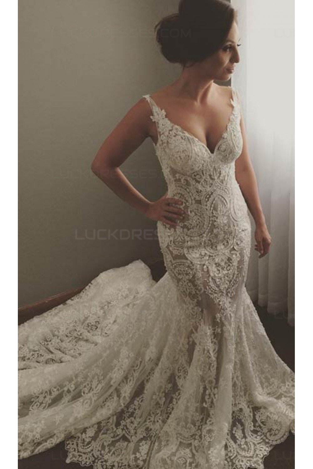 Trumpet/Mermaid V-neck Sleeveless Lace Wedding Dress