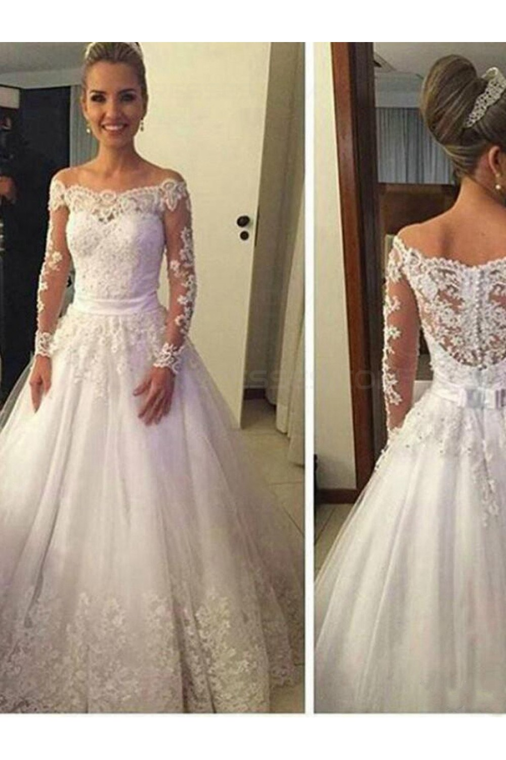 Ball Gown Off-the-shoulder Long Sleeve Tulle Wedding Dress