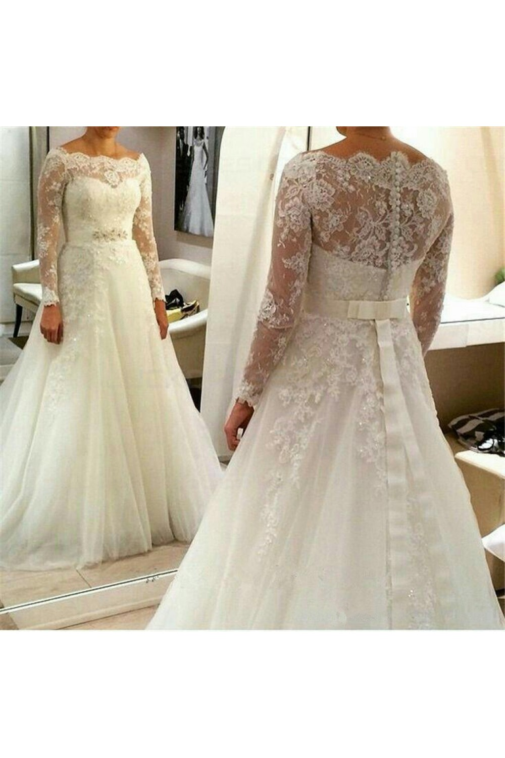 A-line Bateau Long Sleeve Lace Wedding Dress