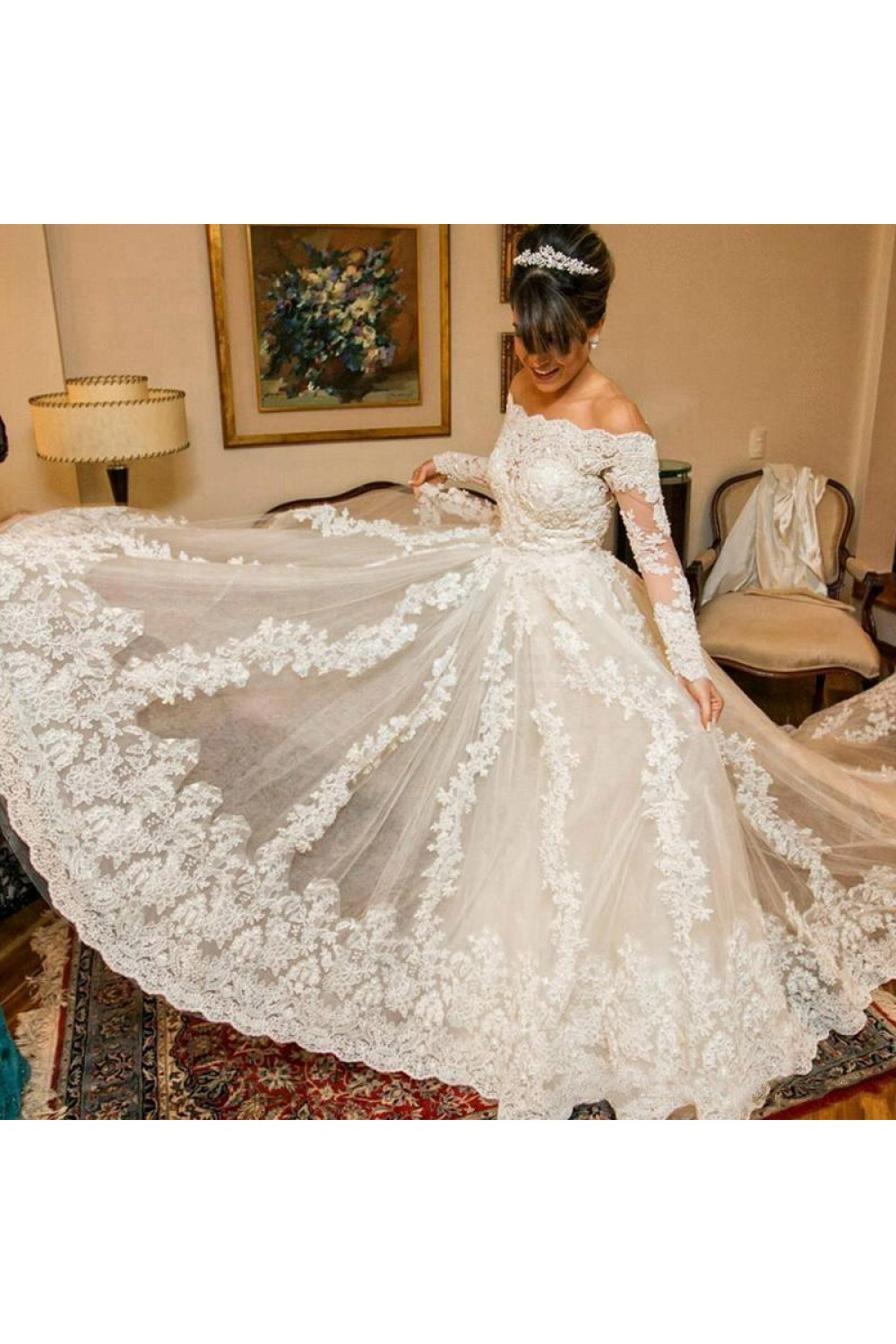 A-line Off-the-shoulder Long Sleeve Lace Wedding Dress